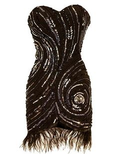 Starry Night Dress: Features a stunning strapless design with sharp sweetheart neckline, swirled sequin embellishment covering both sides of the dress, and genuine ostrich feather trim surrounding a tulip-style hem to finish.