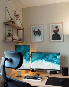 "@norse.keeb on Instagram: ""Not just keyboard or artisan, but entire desk setup #deskgoals #desksetup #workstation #mechanicalkeyboard #keyboard #artisankeycaps"" Desk Setup, Workspace Desk, Home Office Desks, Space Saving Desk, Desk Space, Wooden Table Top, Office Inspo, Home Improvement, Gallery Wall"