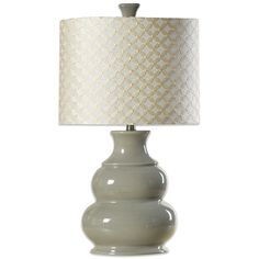 This Coventry lamp will add a unique decorative touch, as well as light where you need it. A cool grey ceramic base is complemented by a matching finial, and a hardback shade embellished with a gold diamond pattern. Bedside Lamps Grey, Grey Table Lamps, Grey Lamps, Mirrored Nightstand, Country Cottage Bedroom, Decoration For Ganpati, Thing 1, Bedroom Night Stands, Bedroom Color Schemes