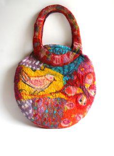 Felt Shoulder Purse Bag Patchwork Bird Butterfly by FrouFrouFelt, $55.00