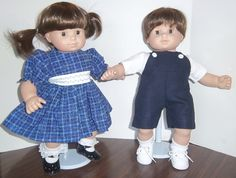 "American Girl 15"" Doll Clothing - Bitty Twins Boy/Girl Blue Dress Up Set Overalls and Dress. $24.00, via Etsy."