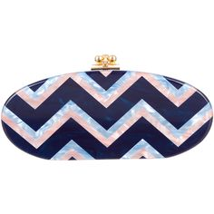 Pre-owned Edie Parker Edie Chevron Clutch (34.585 RUB) ❤ liked on Polyvore featuring bags, handbags, clutches, blue, chevron print purse, blue purse, kiss-lock handbags, blue hand bag and edie parker