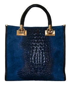 This Blue Snakeskin Leather Satchel is perfect! #zulilyfinds