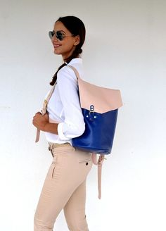Blue and nudepink leather backpack / Handmade bag / by AnaKoutsi, $290.00
