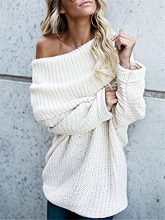 Chunky oversized sweater, white cozy sweater, off-the-shoulder top, Sweater outfit ideas, Cute casual outfit inspiration