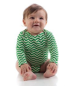 Love this Kelly Chevron Organic Long-Sleeve Bodysuit - Infant on #zulily! #zulilyfinds