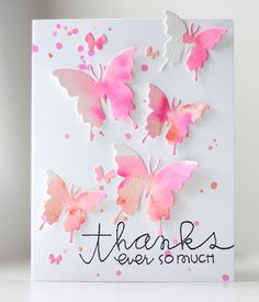 Thanks Ever So Much Watercolor Butterflies card by Kalyn Kepner for Paper Smooches - includes video tutorial