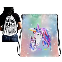 Unicorn Drawstring Back Pack, Unicorn Drawstring Backpack, Unicorn Back Pack, Gift for Girl, Pink Blue Unicorn with Foal, Drawstring Bag by UnicornGiftsFor on Etsy Unicorn Gifts, Print And Cut, Gifts For Girls, Drawstring Backpack, Pink Blue, Printing On Fabric, Handmade Items, Backpacks, Grandparents