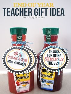 Quick and easy teacher appreciation gift idea. Print off of the free printable Simply the Best Teacher Tags and add to a bottle of juice!
