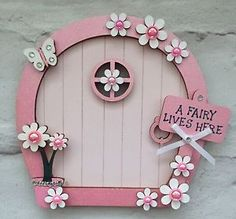 Magical Hand Painted Light Pink Flower Fairy Door | eBay