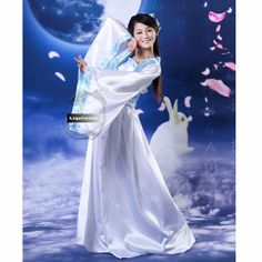 White Chinese Historical Han Fu Period Dress Clothing Costumes Women SKU-131398