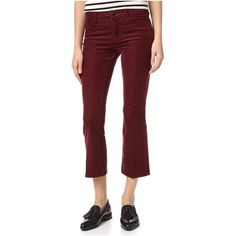 J Brand Selena Boot Cut Pants ($200) ❤ liked on Polyvore featuring pants, ox blood, boot cut pants, boot cut corduroy pants, stretchy pants, 5 pocket corduroy pants and bootcut trousers