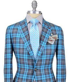 Stanley Korshak | Isaia Grey and Aqua Tartan Plaid Sportcoat