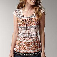 Liz Claiborne Flutter-Sleeve Print Top - jcpenney  Talles: L-XL  Precio: $40