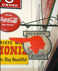Pontiac Parts Double Sided Sign Garage Signs, Advertising Signs, Tin Signs, Vintage Signs, Porcelain, Metal, Porcelain Ceramics, Sandwich Boards, Metals