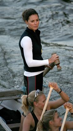 July 2007 | Wearing a vest over long sleeves, Kate and the rowing team practice for the Charity Boat Challenge. via @stylelist