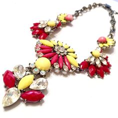 Amrita Singh Statement Necklace Designer Signed Floral Rhinestone Bold #AmritaSingh #Bib