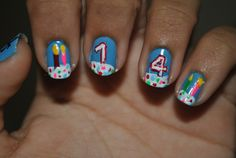 Birthday nail art! Doing these on my sister right now for her 11th birthday!