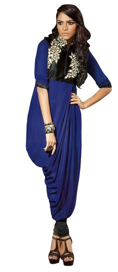 Readymade Georgette Embroidered Kurti M323-103 At Aimdeals.com