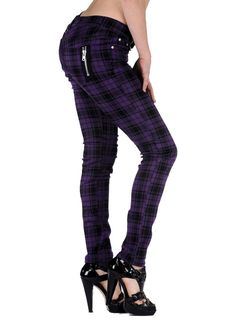 ff9035dd900 Pantalon slim écossais violet punk rock Jawbreaker Robe Rock