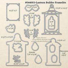 Stampin' Up! Lantern Builder Framelit Dies measurements shared by Dawn Thomas #crackedpotstamper #stampinup