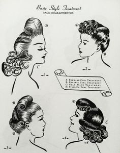 Four curl and/or roll filled 1940s 'dos. #vintage #hair #1940s | http://hair-styles-collections.blogspot.com