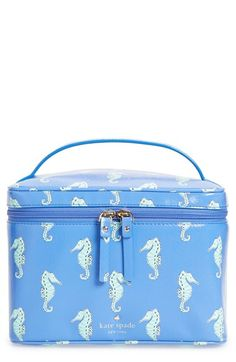 kate spade new york 'natalie seahorses - large' cosmetic case Cute Makeup Bags, Small Case, New York S, Seahorses, Cosmetic Pouch, Random Pictures, Storage Containers, Pouches, Christmas Ideas