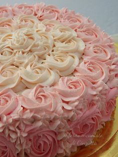 Torta con rose di crema Kahula Cake, Ombre Cake, Diy Cake, Girl Cakes, Pretty Cakes, Cakes And More, Relleno, Vanilla Cake, Recipes