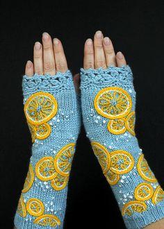 Fingerless Gloves With Lemon, Lemon On Blue, Light Blue Gloves, Blue  Yellow Fingerless Gloves, Gloves And Mittens, For Her, READY TO SHIP