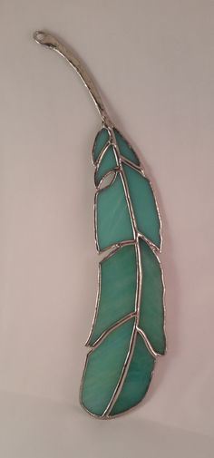 Stained Glass Feather Suncatcher with Metal Quill and Seafoam Green and Aqua Stained Glass