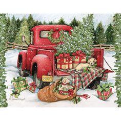 Christmas Red Truck, Boxed Christmas Cards, Christmas Signs Wood, Christmas Scenes, Outdoor Christmas, Country Christmas, Christmas Pictures, Christmas Art, Christmas Holidays