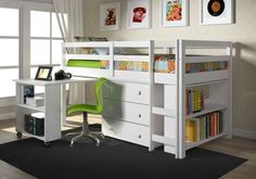 Shop for Donco Kids Low Study Loft Desk Twin Bed with Chest and Bookcase. Get free delivery On EVERYTHING* Overstock - Your Online Furniture Outlet Store! Get in rewards with Club O! Bunk Bed With Desk, Loft Bunk Beds, Low Loft Beds, Bunk Beds With Stairs, Kids Bunk Beds, High Sleeper With Desk, Trundle Beds, Desk Bed, Kids Furniture Sets