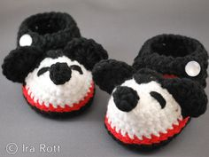 Crocheted Booties - Mikey Mouse  inspired