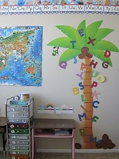 G loves chicka chicka boom boom. Having a palm tree would be great. We could display each letter as it's presented.