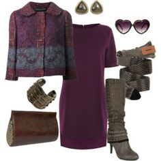 Warehouse Circle Quilted T-Shirt Dress, DOLCE & GABBANA lace detail boucle jacket, MISSONI WOOL BLEND Striped Brown Tights, Keddo Mid Calf Boots Brown, Calleen Cordero WREN CLUTCH, Lynn Ban Crocodile effect cuff, TODD REED fancy diamond stud earrings,