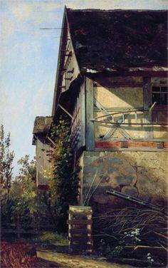 """Ivan Shishkin -   """"Little House in Dusseldorf"""", 1856"""