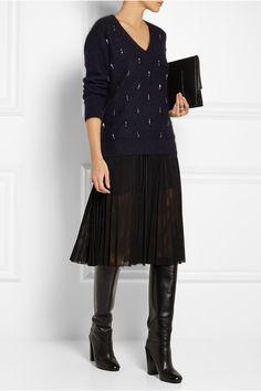 Elizabeth and James Crystal-embellished angora-blend sweater NET-A-PORTER.COM
