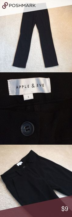 [ B L A C K. D R E S S. P A N T S ] Apple and eve black dress pants! It's a size small, but for me it was tight on me that I would say it's more of a size extra small. These dress pants are a bit high waisted, the waistline of the pants rested just below my belly button and I'm 5 feet tall. Smoke / pet free home! 🚭🚫🐈 apple & eve Pants Straight Leg