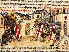 Depiction of a 14th C. fight (1369?) between the militias of the Guelf and Ghibelline factions in the Italian commune of Bologna, from the Croniche of Giovanni Sercambi of Lucca.  the full article is at this unpinnable linkl:  http://eprints.lse.ac.uk/22389/1/wp51.pdf