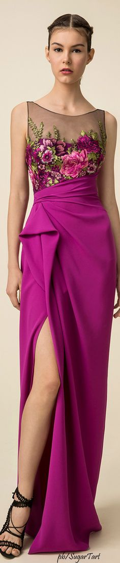 Marchesa Notte Spring 2016 purple maxi lace floral dress. women fashion outfit clothing style apparel @roressclothes closet ideas