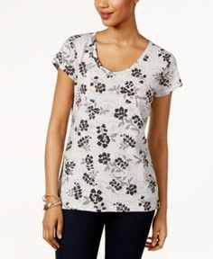 Style & Co Cotton Printed T-Shirt, Only at Macy's -