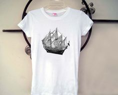 Womens Old Pirate Ship Screen Printed Shirt by SamsaraPrints, $18.00 #shirts #shirt #tshirt #ladies #women #apparel #fashion #style #clothing #etsy #shopping #tops #blouse #tee #pirate #ship #nautical #sea #sailor #old #antique