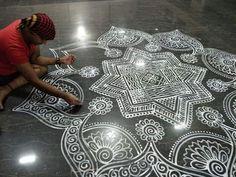 Beautiful Rangoli Designs, Kolam Designs, Padi Kolam, Rice Flour, Tribal Tattoos, Krishna, Folk Art, Vitamins, Mandala