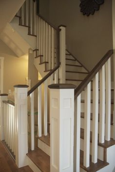 squared staircase spindles & stained/white