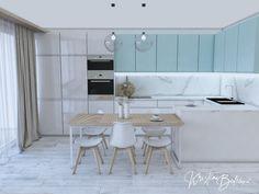 Modrá ako vítané osvieženie - Kristína Bedečová Living Room Kitchen, Kitchen Design, Dining Table, Furniture, Home Decor, Decoration Home, Design Of Kitchen, Room Decor, Kitchen Living