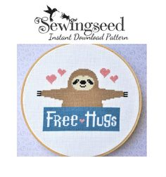 INSTANT DOWNLOAD Sloth Free Hugs Counted Cross Stitch Pattern