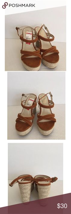 """Callisto of California Wedge Sandals Callisto Of California Wedge Sandals Size-8 Color- Brown Callisto of California strappy wedge platform sandals,  upper suede like materials, adjustable three hole ankle strap with single prong closure, wedge straw heel measures approx. 4.5"""" sitting on a 1.5"""" platform.  New without box store display Callisto Shoes Wedges"""