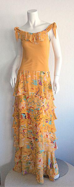 Stephen Burrows Jersey Maxi Dress w/ Silk Tiered Skirt 1970-99