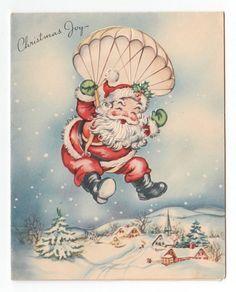 Vintage Greeting Card Christmas Joy Parachute Santa Claus 1940s