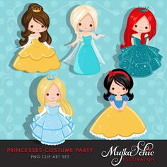 Princess Costume Party Clipart with cute characters Instant Download Princess Graphics. by mujka on Etsy